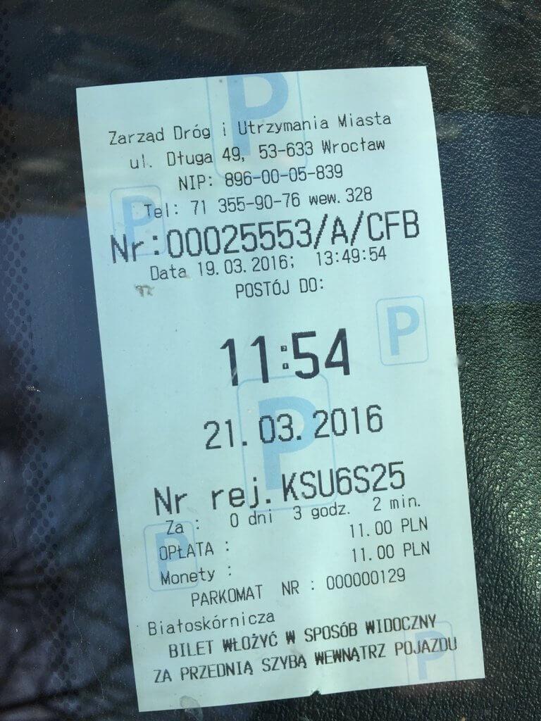 Bilet parkingowy